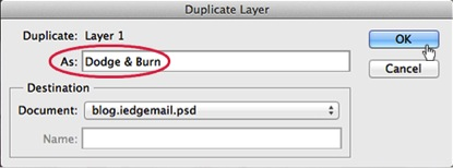 How to Use Burn and Dodge Tool - Rename Duplicate Layer