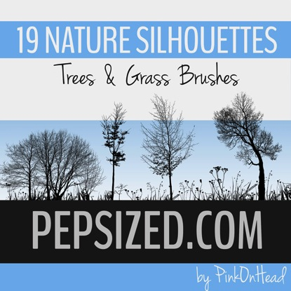 Nature Silhouettes Trees & Grass Brushes