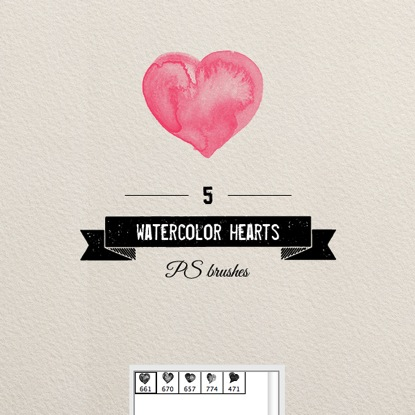 Watercolor Hearts II
